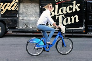 I'm SO GODDAMN CHIC. In my jeans and sunglasses, with no helmet on a citibike.